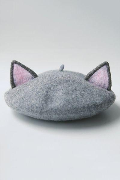 Tuibianji Gray Cat Ear Felt Beret | Hats at DEZZAL