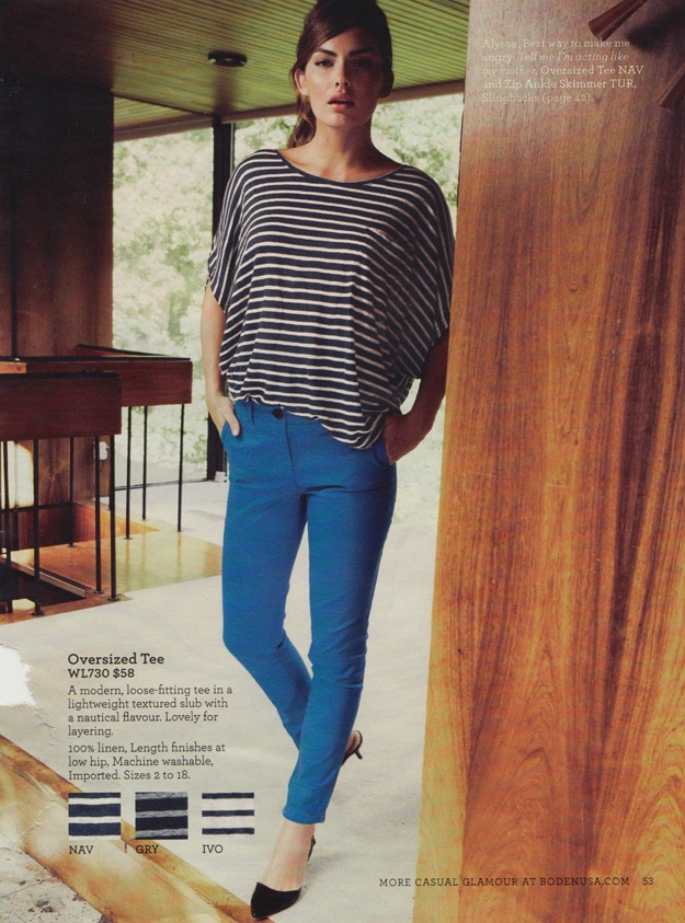 boden fashion 2013 blue pants and stripes, casual look