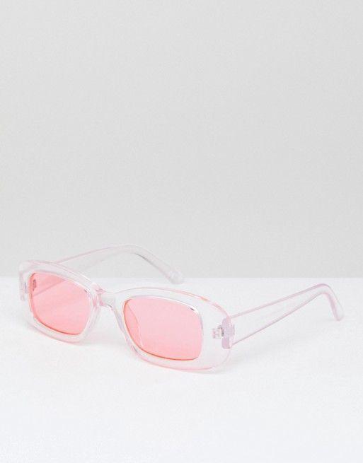 9732e4c5537b61 Lunettes de soleil style années 90 à verres roses - Rose   Pinterest ...