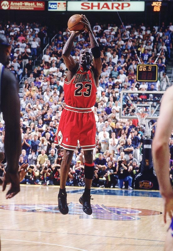 Michael Jordan, 6/14/1998, Bulls v Utah. Scored 45 points in this game, resulting in the Bulls' 6th title and 2nd three-peat.