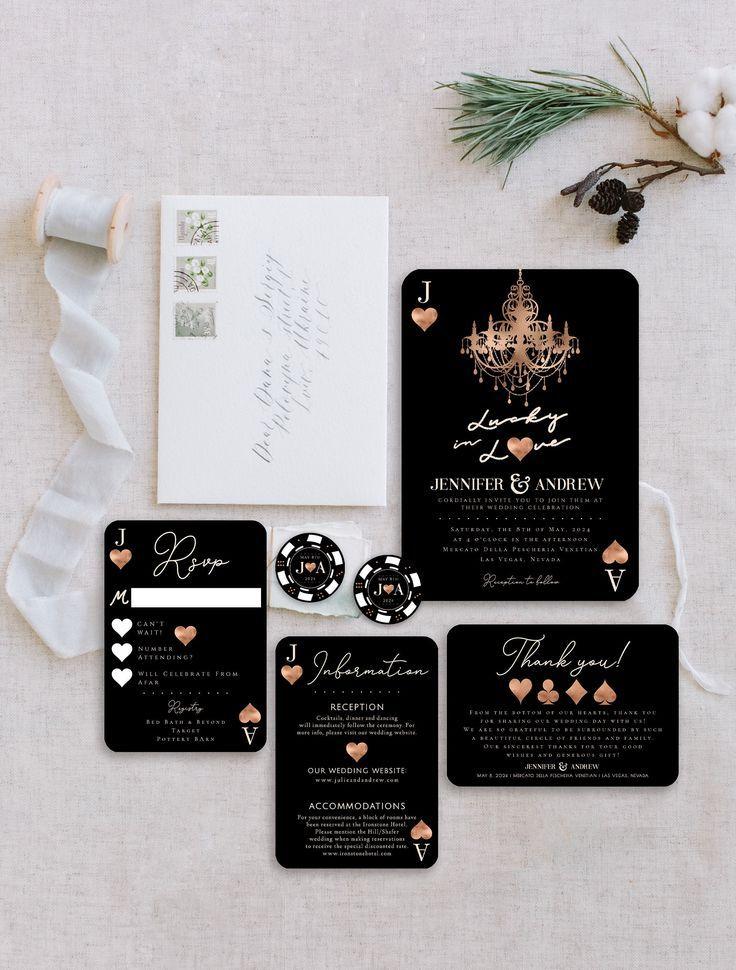 Fun Las Vegas Themed Wedding Invitation Suite Lucky In Etsy Vegas Themed Wedding Vegas Wedding Invitations Vegas Themed Wedding Invitations