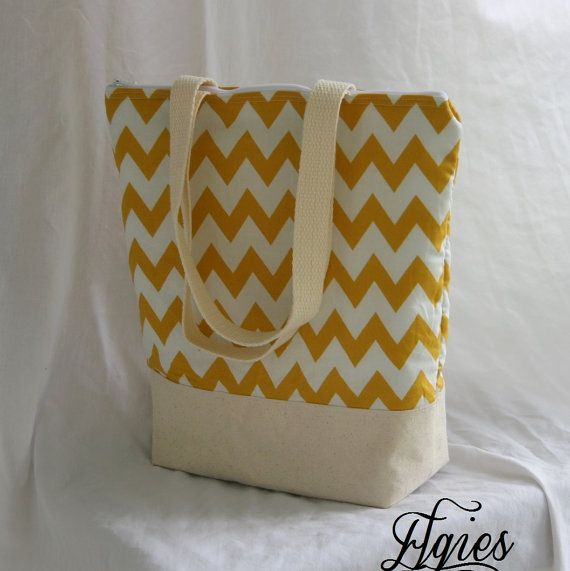 Mustard Chevron Stripe Fully Insulated Tall Lunch Tote by elgies