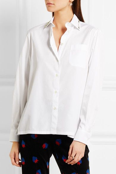 White cotton-poplin Button fastenings through front 100% cotton Dry clean Made in Italy