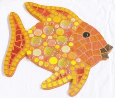 """Mosaik Set """"Gold-Fisch"""" - 25x25 cm - SoftGlas, Drops, Nuggets usw."""