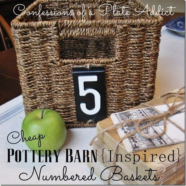CONFESSIONS OF A PLATE ADDICT {Super Cheap} Pottery Barn Inspired Numbered Baskets