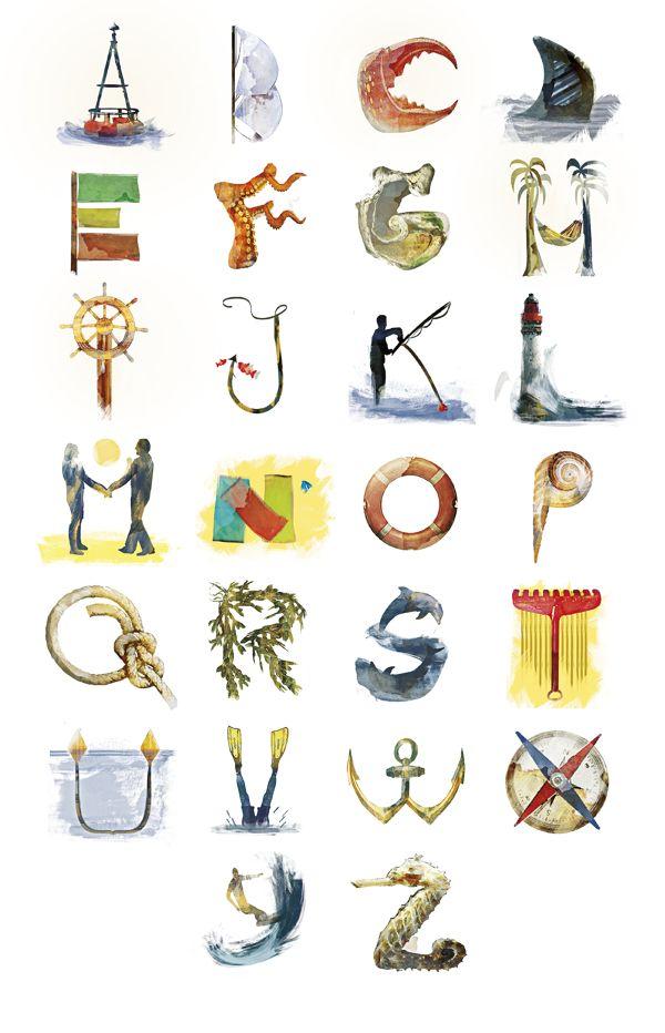 Sea Alphabet by Charles Bail, via Behance
