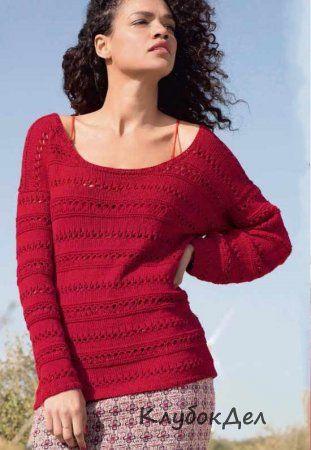 Красный пуловер с узорами