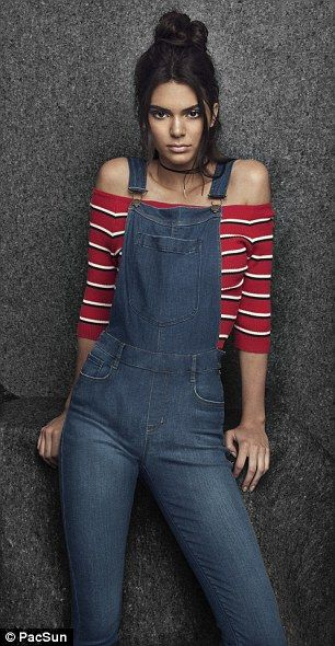 Modern fit: Kendall can be seen modeling an off-the-shoulder top and a pair of form-fitting overalls