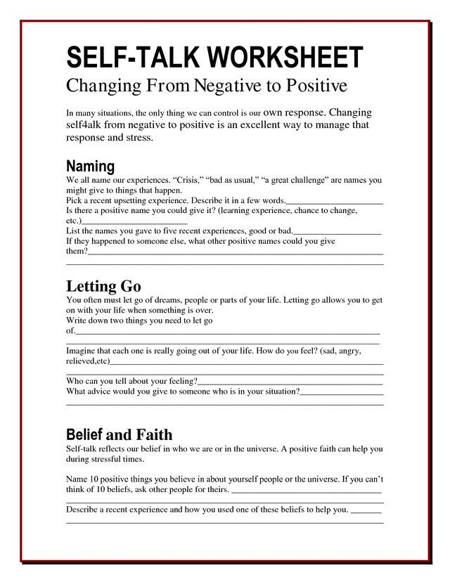 Positive Self Talk Mft Therapy Worksheets Behavioral