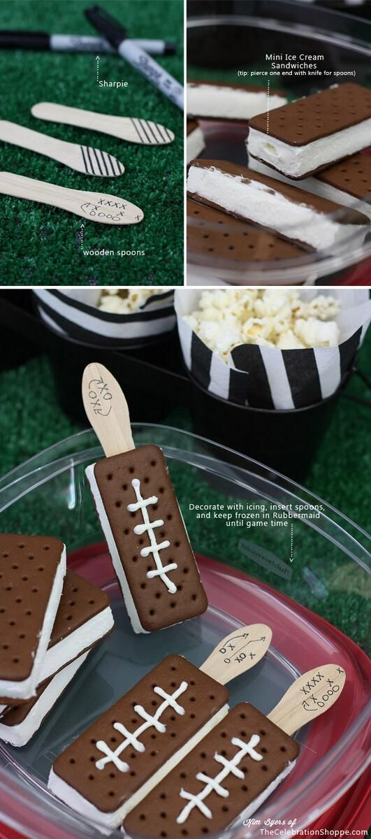 Kick off the start of the season with a fun football party! These themed treats, decor and games will make the party a blast, even for non football fans! Love these football ice cream sandwiches.
