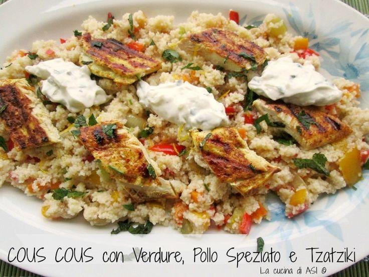 Un piatto unico cous cous con pollo speziato e tzatziki molto buono e leggermente piccante per la marinatura del pollo Ricetta piatto unico La cucina di ASI