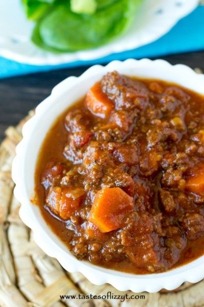 This Sweet Potato Chili recipe is full of beef and sweet potatos. It is rich with a bit of sweetness and a spice all at the same time. #chili #yum #foodgasm