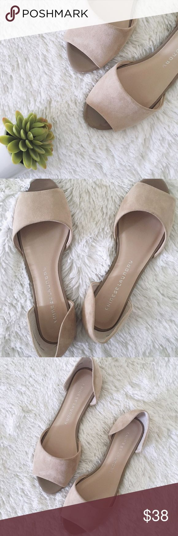 NWOBChinese Laundry • faux suede open toe flats •Chinese laundry •NWOB  •tan faux suede •open toe •super versatile •Size: 7 M  •Please see all pics, read description, and ask questions before purchasing   •No Trades• Chinese Laundry Shoes Flats & Loafers