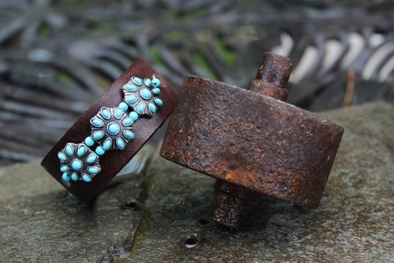 Turquoise Flower Leather Bracelet by ShopPrettyPatina on Etsy