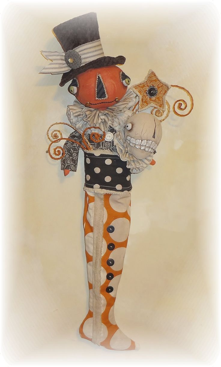 Halloween Jack O Lantern and Skelly Stocking.  Folk Art from The Pixie's Thimble by Cindy Conrad