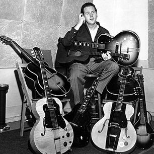 Les Paul, born Lester Polfus, is a guitar inventor as well as a player. He was tinkering with electronics at age twelve and built his first guitar pickup from ham-radio parts in 1934. He was also a pioneer in multitrack recording and a staggeringly talented guitarist.
