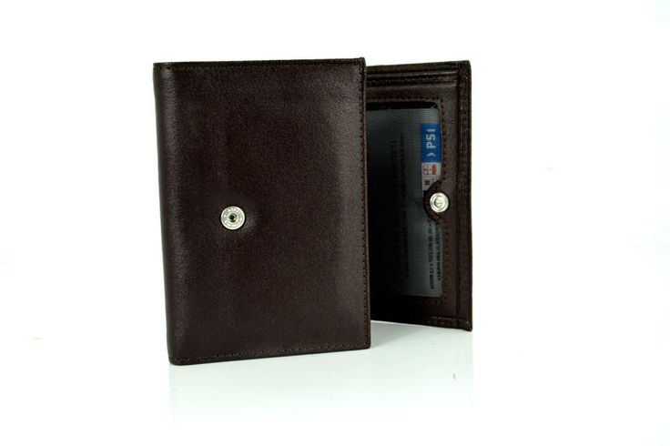 Black Colour Genuine Leather Wallet with Pres Stud Closing