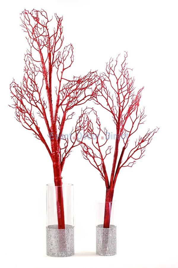 Great fake red coral table decor for a tropical or