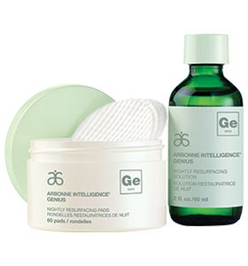 Arbonne Intelligence Genius... The proprietary solution and resurfacing pads work together to reduce the look of dark spots and fine lines for smooth, even-toned, beautiful skin.  Clients LOVE the results!!!