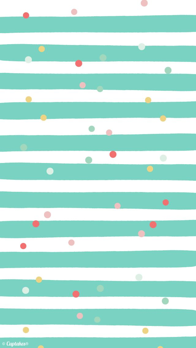 Mint white pink stripes confetti dots iphone wallpaper background phone lockscreen