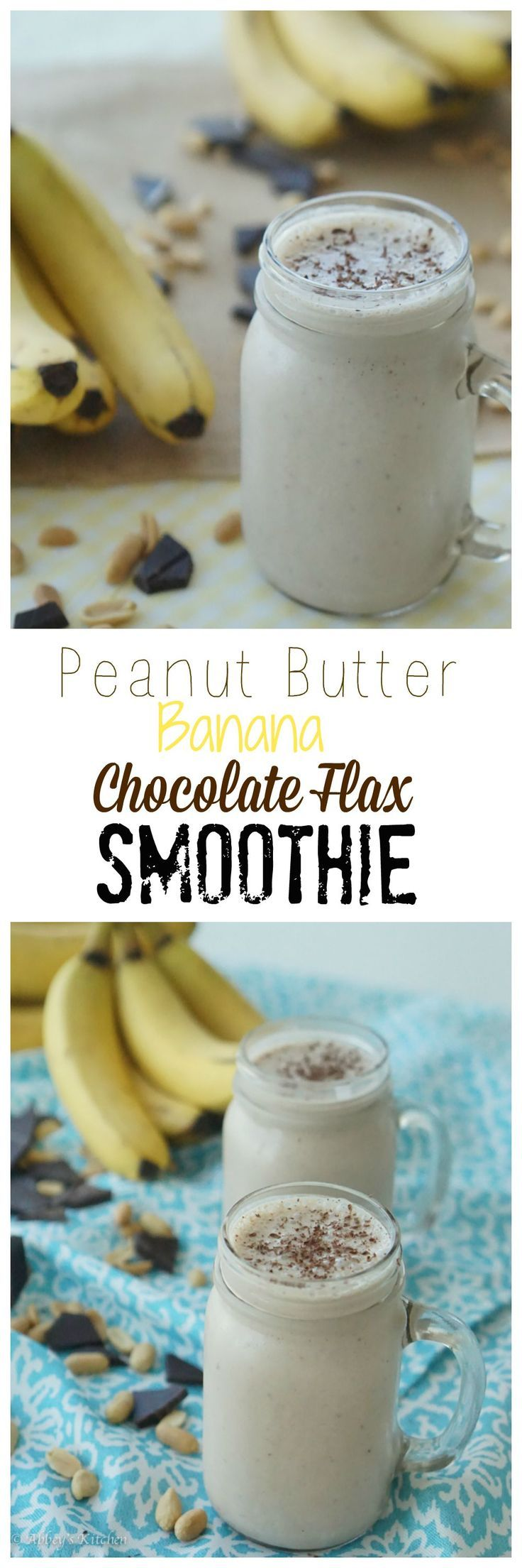 Make my No-Sugar Added Peanut Butter, Banana and Chocolate Flax Smoothie today! #ad #smoothie