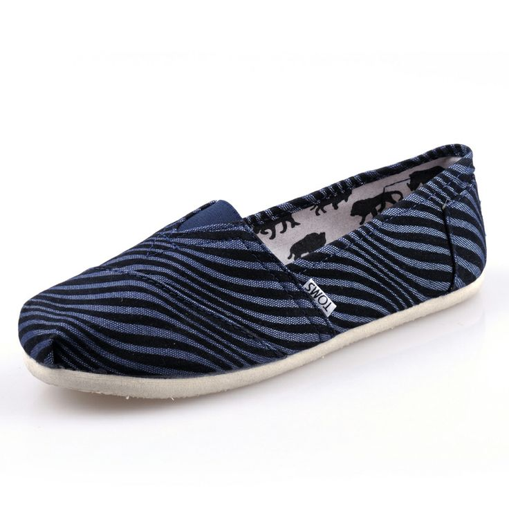 Big Discount Toms Women Zebra Shoes Blue With Top Material Online Sale For You! #TOMS #Shoes