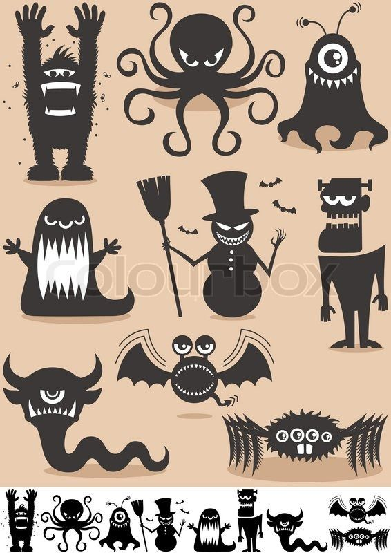 monster silhouettes for windows