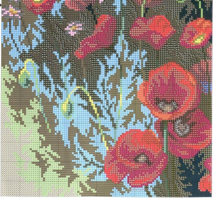 Вышивка Маковое поле  Схема вышивки