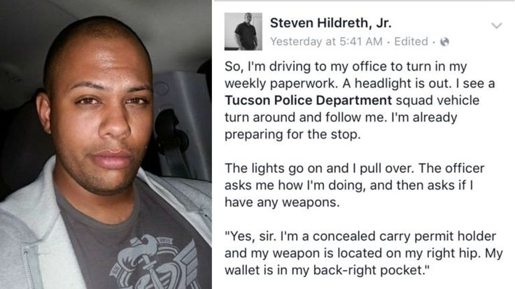 TUCSON, Ariz. -- A man's Facebook post about a recent traffic stop is going viral. Steven Hildreth Jr. says he was pulled over by the Tucson Police Department for a broken headlight. When the offic...