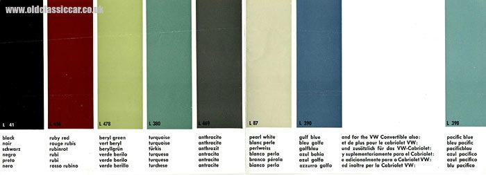 A range of paint colours for the VW Beetle