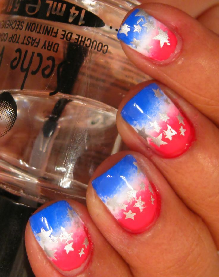 4th of july nails i probably wouldnt use the stars because i dont know how to do that yet..