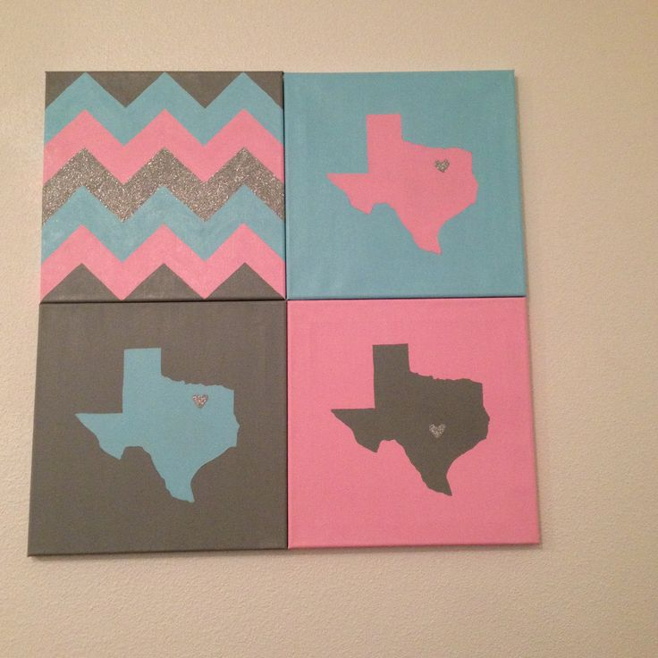 Texas canvas with glitter hearts from where each roommate is from and a chevron canvas  I sell this and canvases like this on Etsy. My shop's name is MichelleKathrynD!