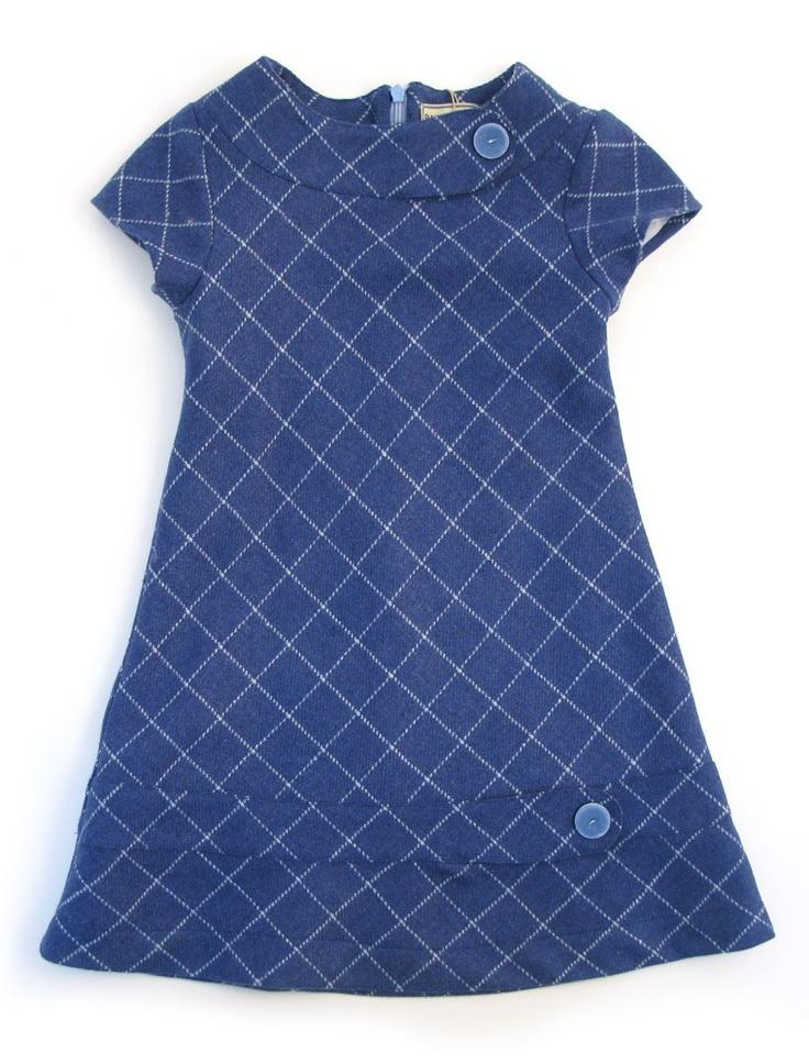 Girls Wool Orchid Dress - Blue Check