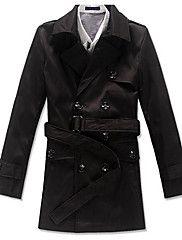 Egyszínű Férfi Kabát,Casual,Pamut,Hosszú ujjú-Fekete / Fehér