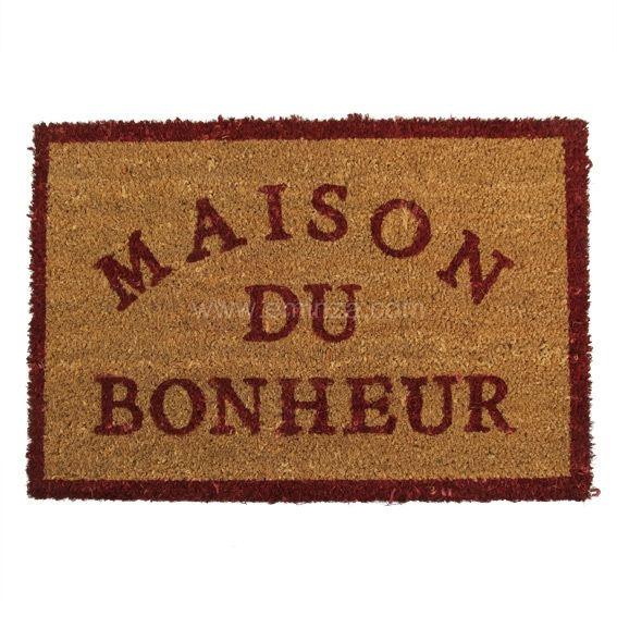 Paillasson Bonheur : en fibre de coco 100% naturel Eminza, achat de Tapis