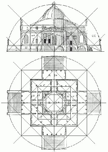 HIGH RENAISSANCE ARCHITECTURE, North Italy; Drawing of Villa Capra , 1566-67, Vicenza, designed by Palladio # The proportions of the rooms are mathematically precise, according to the rules Palladio describes in the Quatro Libri.#