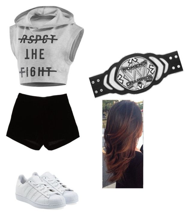 """""""Introducing The New Era's WWE Women's Championship and Pipebombing the Diva's Roster."""" by mjisaliveinour2 ❤ liked on Polyvore featuring Reebok, Andrew Gn and adidas Originals"""