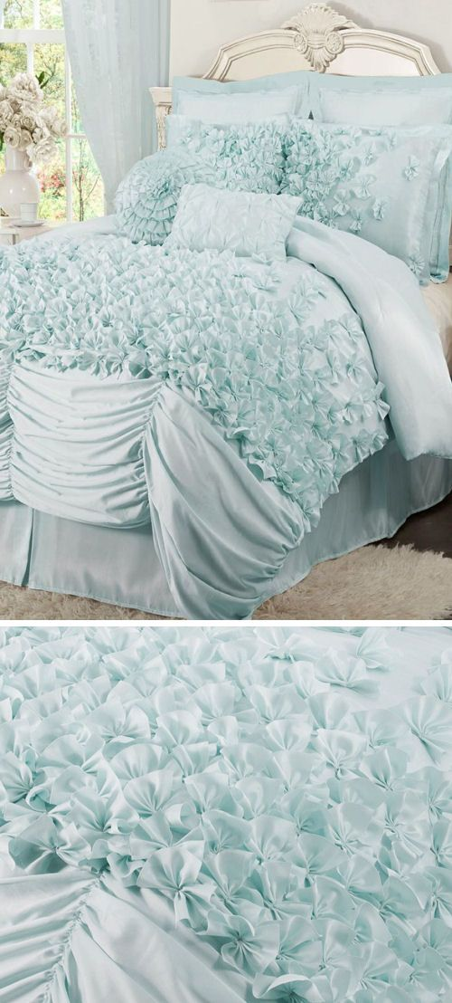 Tiffany Blue Ruffled Comforter Set ♥ L.O.V.E.