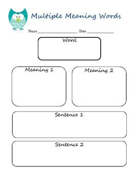Free! Multiple meaning word graphic organizer.