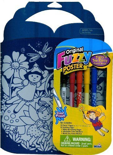 Original Fuzzy Poster Fairy Tea Party Travel Book by Megabrand Inc.. $5.99. 10 Fuzzy poster pages; 10 Activity Pages; 4 Wipe-off Activity Pages;. Includes everything you need to make your little artist occupied. Ages 3+. 4 Washable Color Markers; & 1 Black Dry Erase Marker. Travel size fuzzy poster Fairy Tea Party travel Book. Fuzzy Poster Fairy Tea Party Travel Book. Includes: 10 Fuzzy poster pages (22cm X 20cm); 10 Activity Pages; 4 Wipe-off Activity Pages; 4 Washable Color M...
