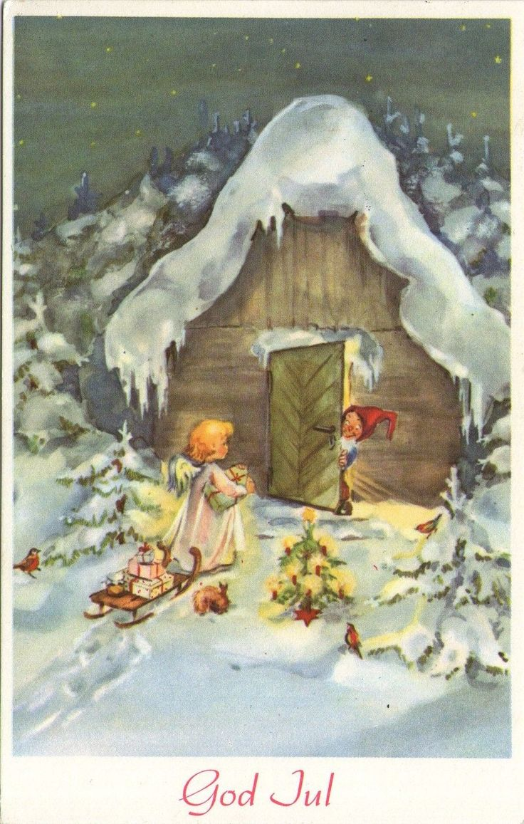 ak weihnachten zwerg engel schlitten tiere gel. Black Bedroom Furniture Sets. Home Design Ideas