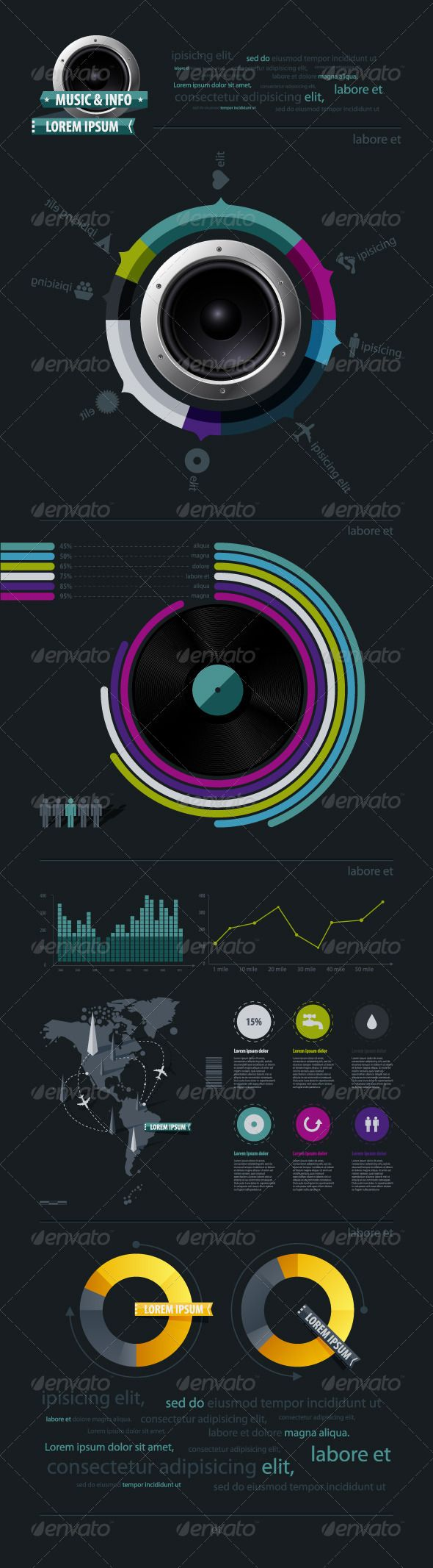 Infographic music elements with vinyl and speaker - Infographics  #infographic #graphic #design #graphicdesign #web #graph #stats #chart #statistic #pie #vector #eps #illustrator #speaker #creative #stylish