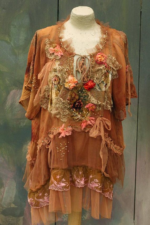 Autumn fiesta tunic  hand dyed floaty bohemian romantic