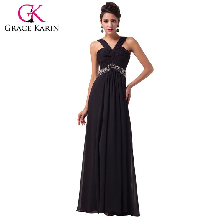 Grace Karin Elegant Evening Dresses Chiffon Long Party Dress Black Evening Formal Gowns Summer Style Special Occasion Dresses