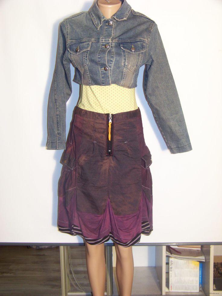 Юбка фиолетовая в полоску с накладными карманами и сложным кроем (We love, 42-44 или М\L)