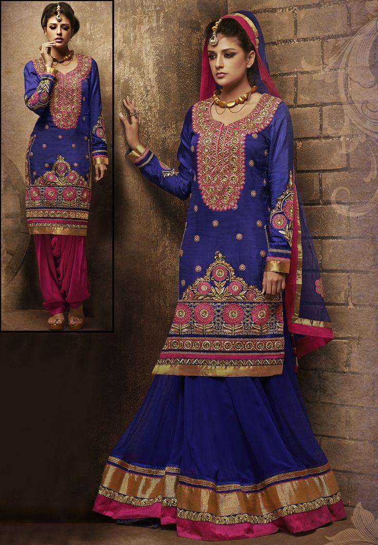 Blue Art Silk Salwar Kameez Cum Lehenga Online Shopping: KMR92