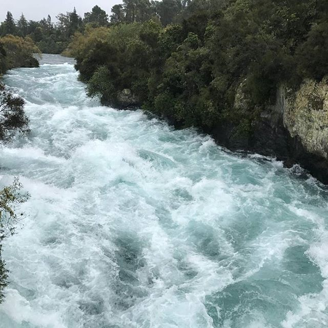 Huka Falls near Lake Taupo is New Zealand's most visited natural attraction. When you're there you can definitely see why!
