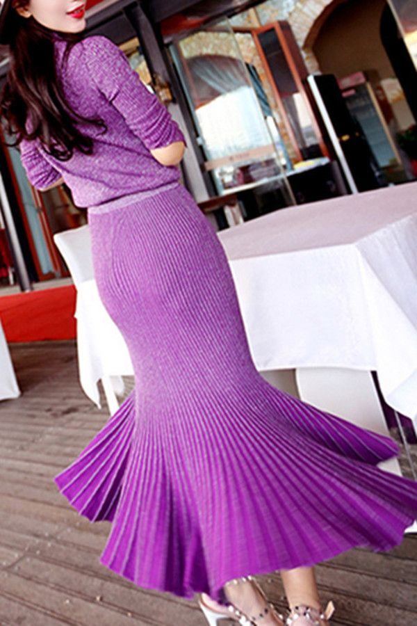 Elegant Stand Collar Long Sleeve Knitwear + Fishtail Skirt Women's Twinset