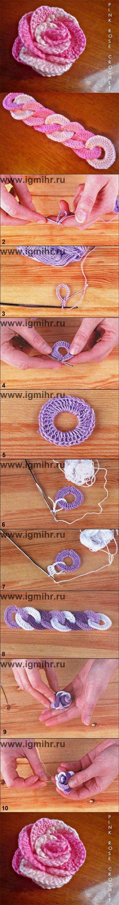 how to DIY Crochet Interlocking Rose, hairband, belt   www.FabArtDIY.com