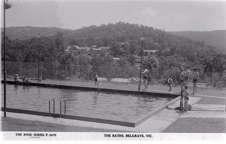 Belgrave swimming pool, Terry's Hill behind